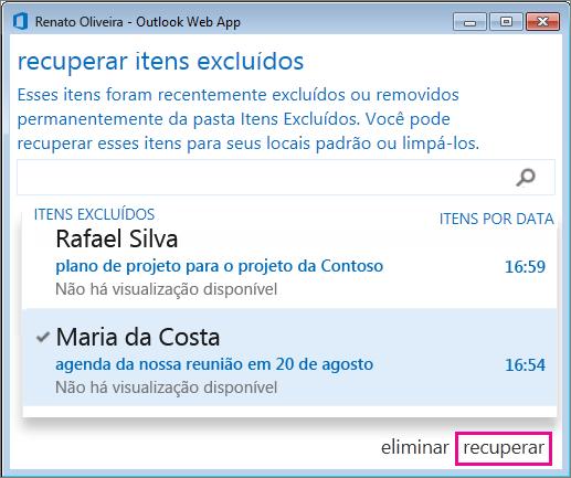 Caixa de diálogo Recuperar itens excluídos do Outlook Web App