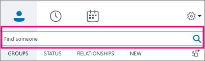 Quando a caixa de Pesquisa do Skype for Business está vazia, as guias disponíveis são Grupos, Status, Relações e Novo.