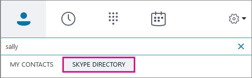 Quando o Diretório do Skype estiver em destaque, você poderá pesquisar por pessoas que têm contas Skype.